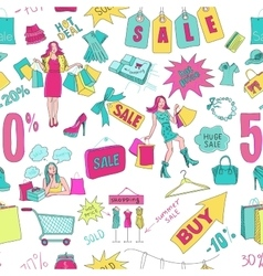 Colored Sale seamless pattern background vector image