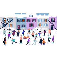 Crowd of tiny people dressed in winter clothes ice vector