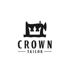 Crown icon with sewing machine logo design vector