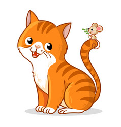 cute cat with a cute little mouse on its tail vector image