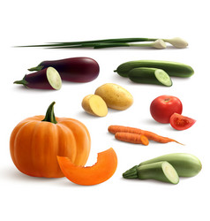 Cutted vegetables realistic set vector