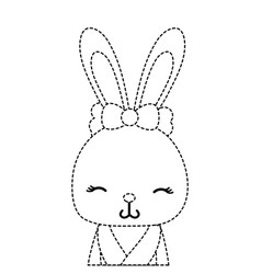 Dotted shape adorable and shy rabbit female wild vector