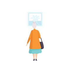 Elderly woman looking at the painting hanging on vector