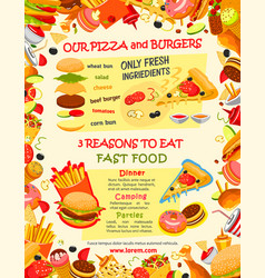 fast food burger and pizza menu template vector image