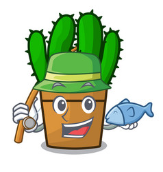 Fishing spurge cactus plant isolated on mascot vector