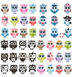 Funny colorful owls and isolated on white vector image