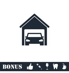 Garage car icon flat vector