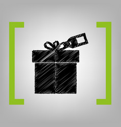 gift sign with tag black scribble icon in vector image