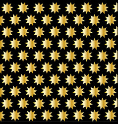 golden nine pointed star on black background vector image