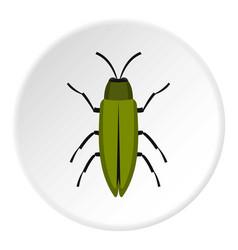 green beetle icon circle vector image