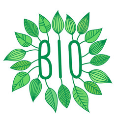 green bio sign in with growing leaves vector image