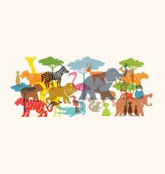 Group of wild animals zoo vector
