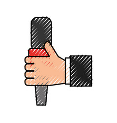 hand human with microphone communication device vector image