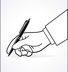 Hand with pen writing signing outline vector