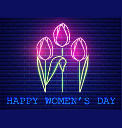 happy mother day tulip bouquet neon light vector image
