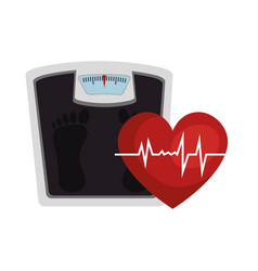 Heart cardio with scale icon vector