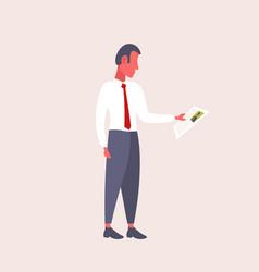 Hr man holding cv form choosing resume new job vector