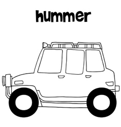 Hummer with hand draw transportation vector image