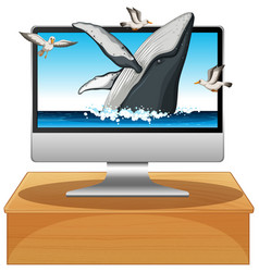 Humpback whale on computer background vector