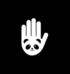 isolated black and white image panda head on vector image