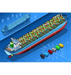 Isometric Cargo Ship with Containers Isolated in vector