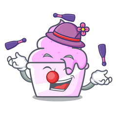Juggling ice cream paper cup mascot cartoon vector