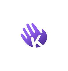 k letter hand palm hello logo icon vector image