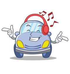 Listening music cute car character cartoon vector