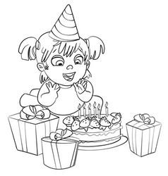 little girl having fun celebrating her birthday vector image