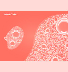 Living coral color shampoo soap bubbles in bath vector