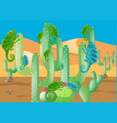 lizards and cactus in the desert vector image