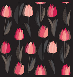 modern abstract red tulip seamless pattern vector image