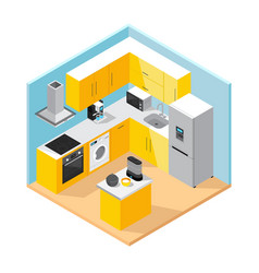 modern kitchen interior isometric concept vector image