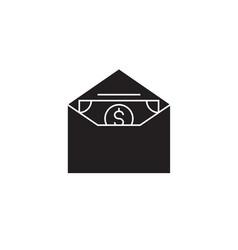 money in an envelope black concept icon vector image