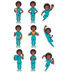 nurse african female set vector image