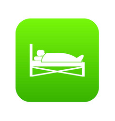 patient in bed in hospital icon digital green vector image