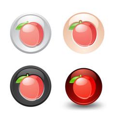 Peach button set web 20 icons vector