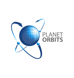 planet orbits arrow logo concept design symbol vector image