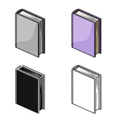 Purple standing book icon in cartoon style vector
