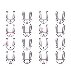 Rabbit handdrawn emoticons 3 vector