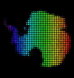 Rainbow colored dot antarctica map vector
