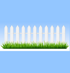 realistic wooden fence green grass on white vector image