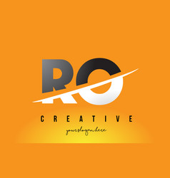 ro r o letter modern logo design with yellow vector image
