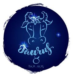 Round zodiac sign taurus vector