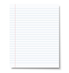 ruled sheet of notebook paper paper template vector image