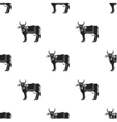 sacred cow icon in black style isolated on white vector image