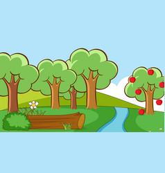 Scene with trees in park vector
