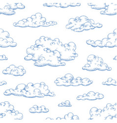 Seamless pattern with fluffy clouds or cumulus vector