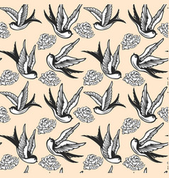 seamless pattern with swallows and roses in old vector image