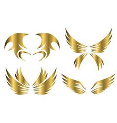 set gold animal wings logo design vector image